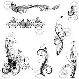 planche-de-7-tampons-arabesques-papillons